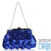 Diana Ruffle Layered Blue and Silver Sequin Petite Clutch / Shoulder Evening / Prom Bag